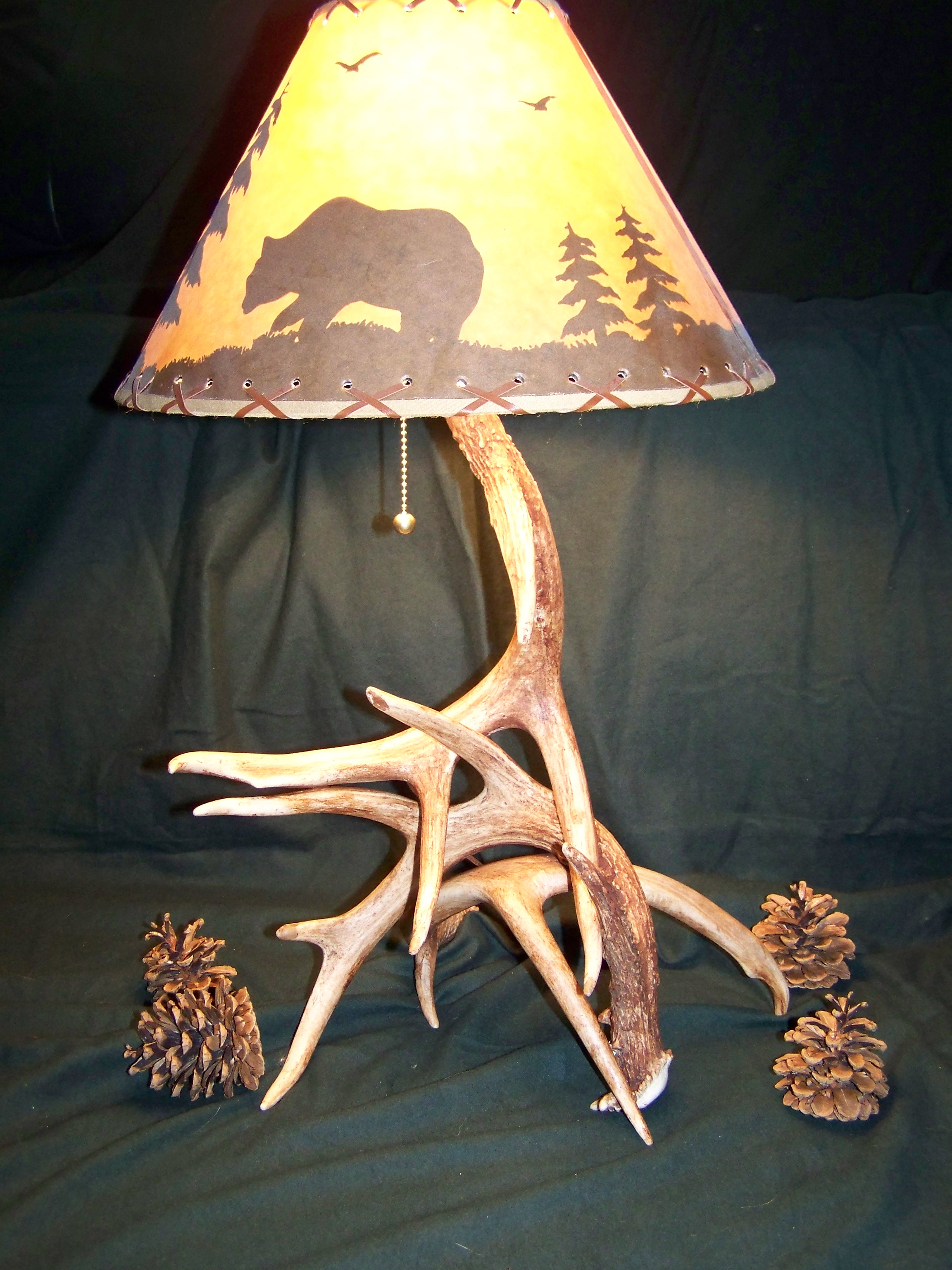 elk deer lamp shades custom antler lighting including table lamps